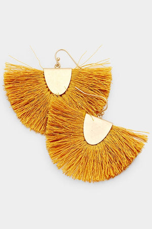 Fanning Fringe Earrings - Mustard