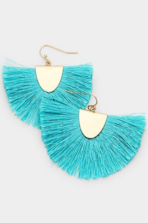 Fanning Fringe Earrings - Turquoise