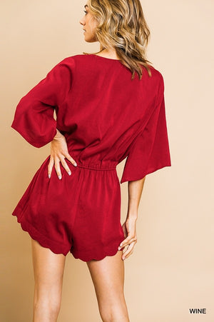 Scalloping Romper - Burgundy