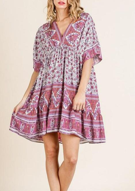 Jenny Floral Dress - Berry