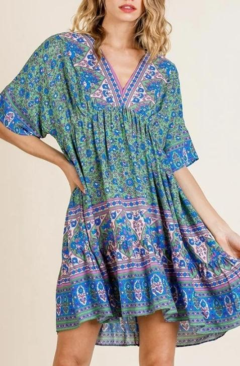 Jenny Floral Dress - Green Mix