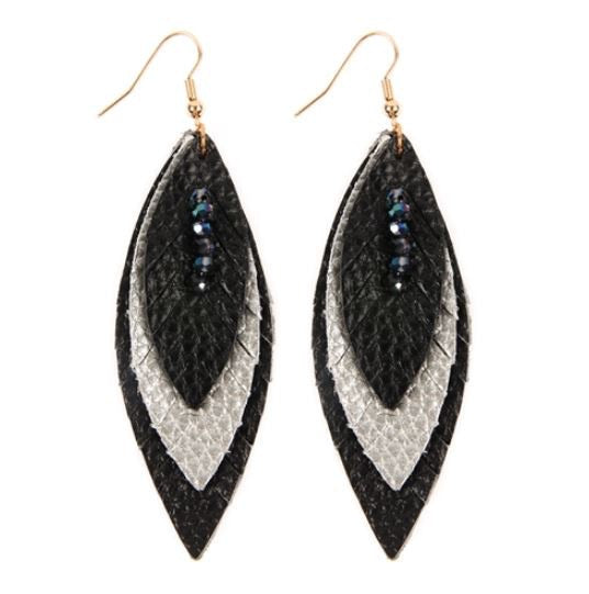 Layered Leather Feather Earrings - Black/Silver