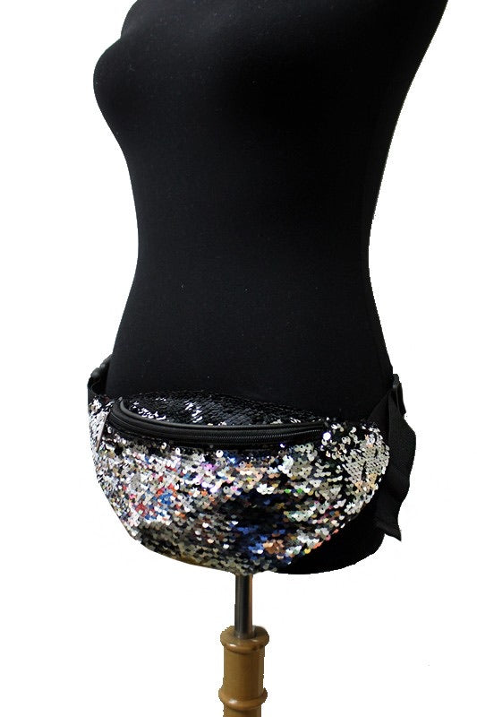 Sequin Fanny Pack - Silver