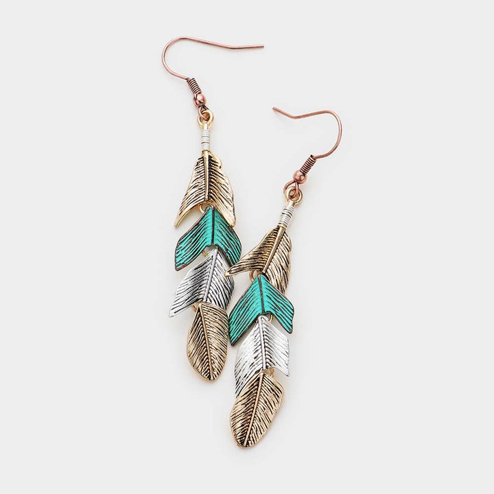 Chasing Winds Metal Feather Earrings - Patina Multi