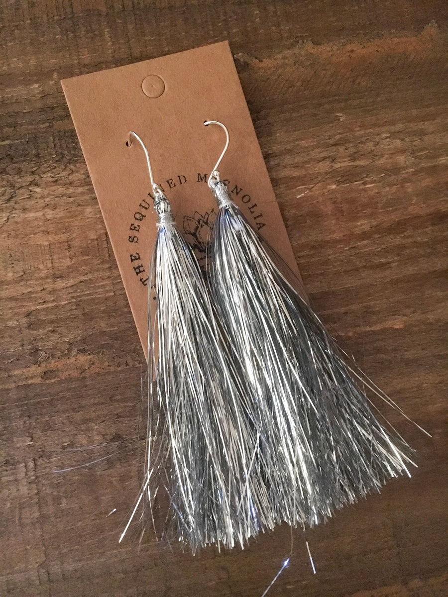 Long Tinsel Tassel Earrings - Silver