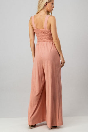Daydreamer Smocked Jumpsuit - Mauve