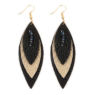 Layered Leather Feather Earrings - Black/Gold