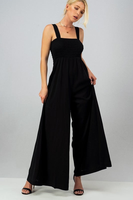 Daydreamer Smocked Jumpsuit - Black