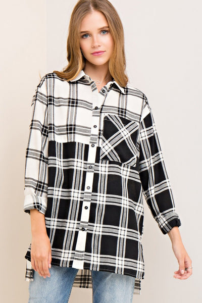 Mixed Up Plaid Button Down - Ivory/Black