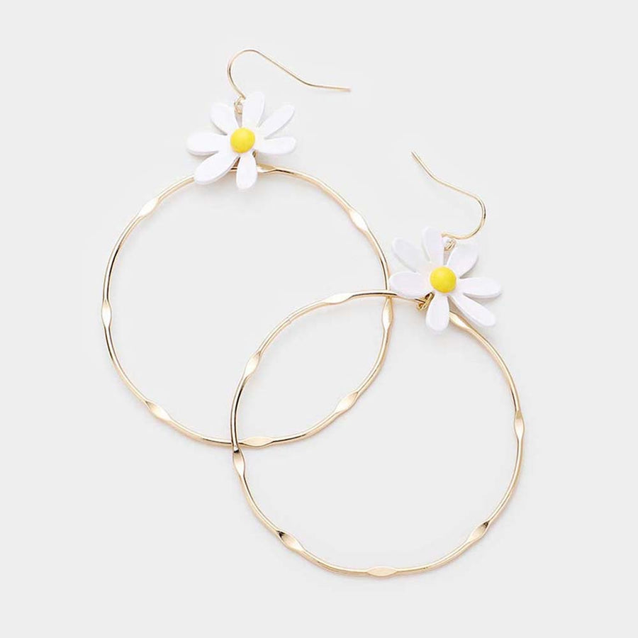Groovy Flower Hoop Earrings - White
