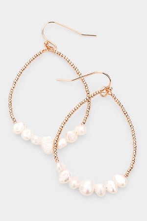 Rosed Pearl Teardrop Earrings