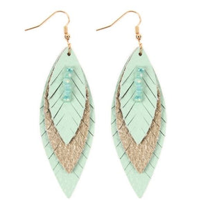Layered Leather Feather Earrings - Aqua