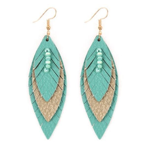 Layered Leather Feather Earrings - Turquoise