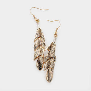 Chasing Winds Metal Feather Earrings - Antiqued Gold