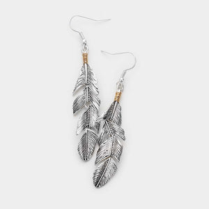 Chasing Winds Metal Feather Earrings - Antiqued Silver
