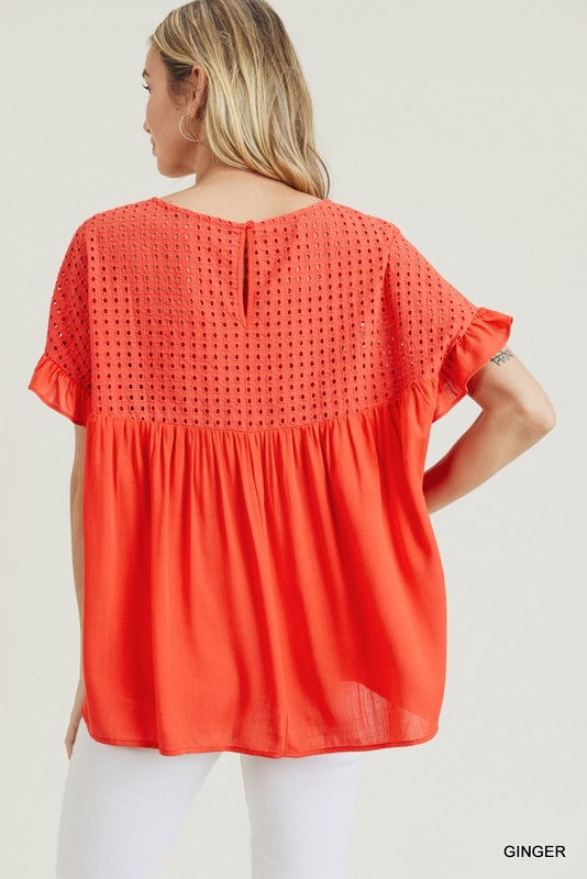 Hole In One Eyelet Top