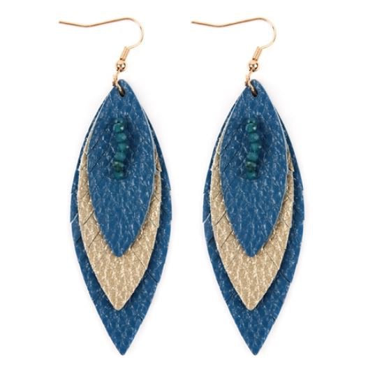 Layered Leather Feather Earrings - Royal