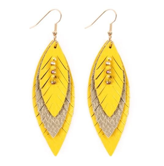 Layered Leather Feather Earrings - Yellow Gold