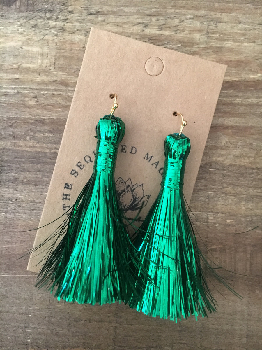 Tinsel Tassel Earrings - Green