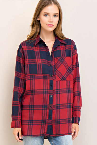 Mixed Up Plaid Button Down - Red/Navy