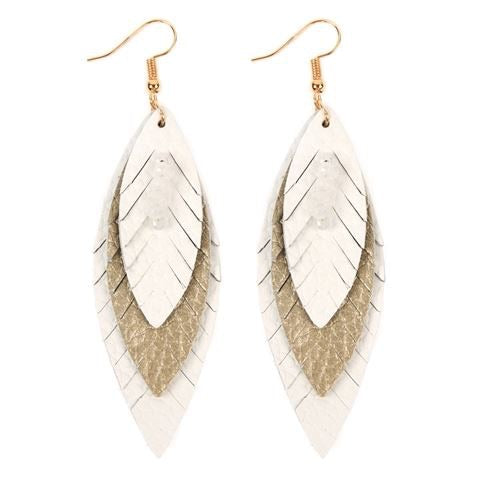Layered Leather Feather Earrings - White