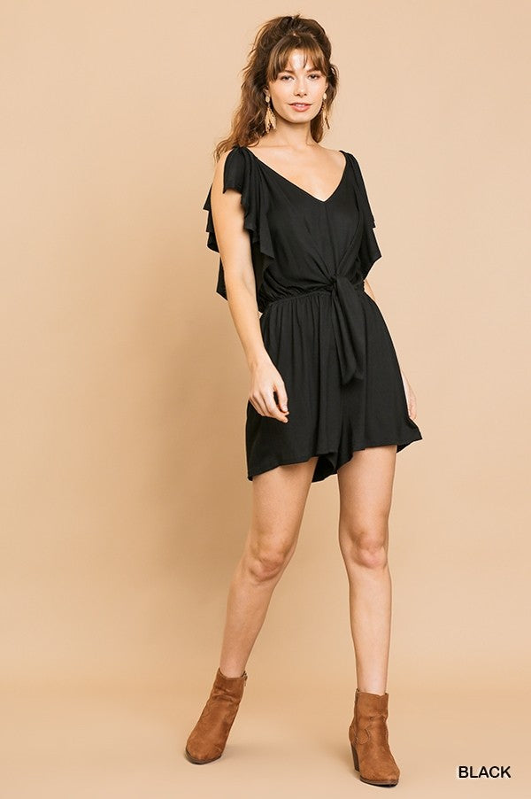 Maybe Baby Split Ruffle Romper - Black