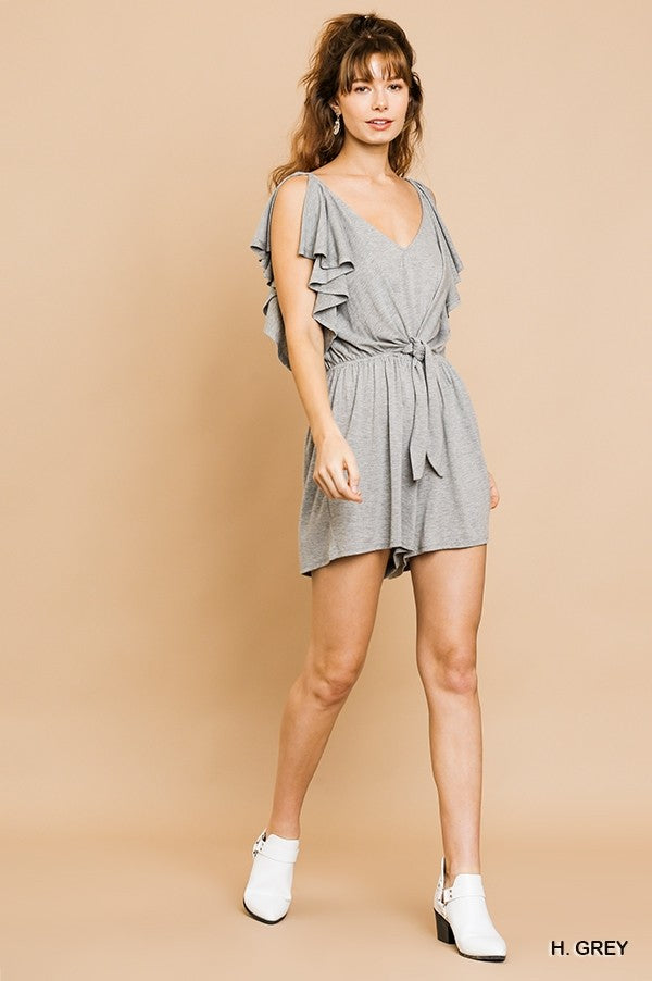 Maybe Baby Split Ruffle Romper - Heather Grey