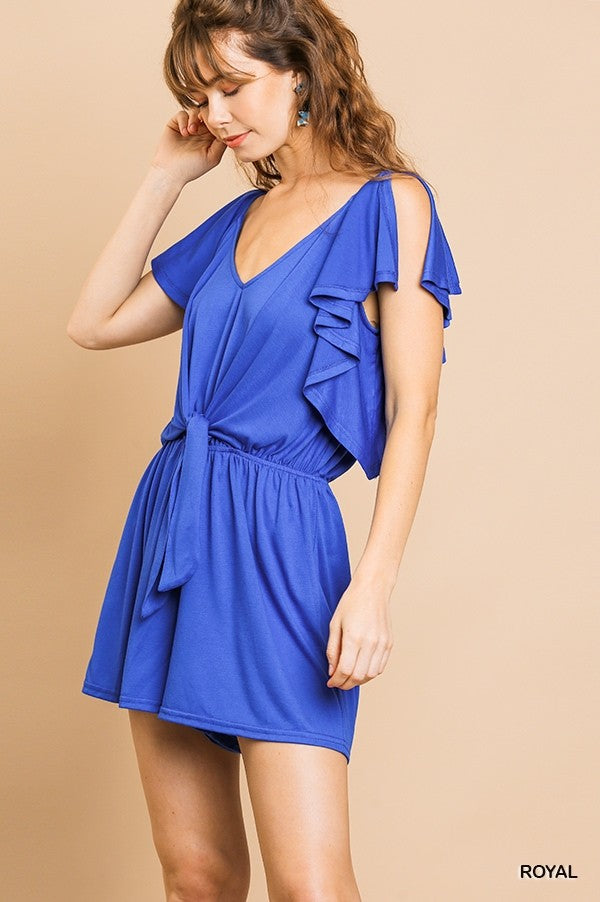 Maybe Baby Split Ruffle Romper - Royal Blue