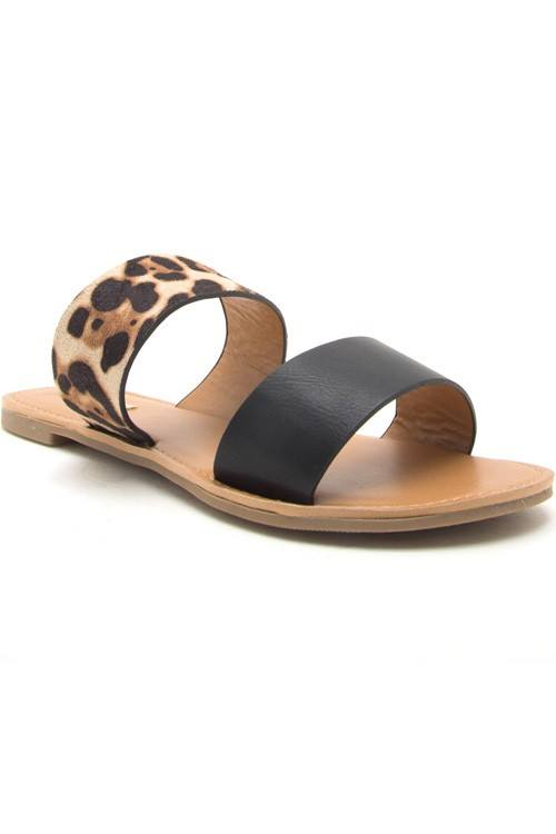 On the Go Double Strap Sandal - Leopard