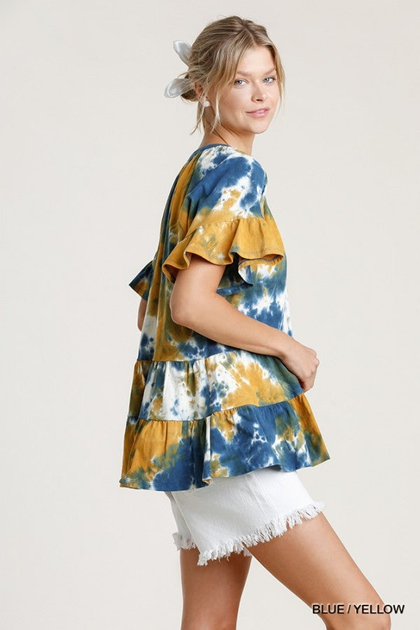 Holden Tiered Tie Dye Top - Blue/Yellow