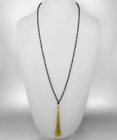 Beads & Tassel Necklace {Black/Gold}
