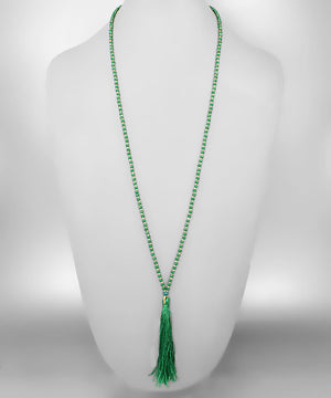 Beads & Tassel Necklace {Green}