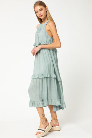 So Fresh So Clean Ruffled Midi Dress - Seafoam