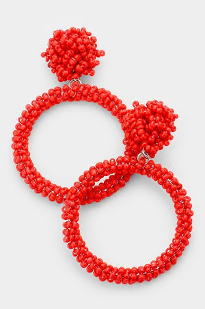 Cut Out Earrings - Red
