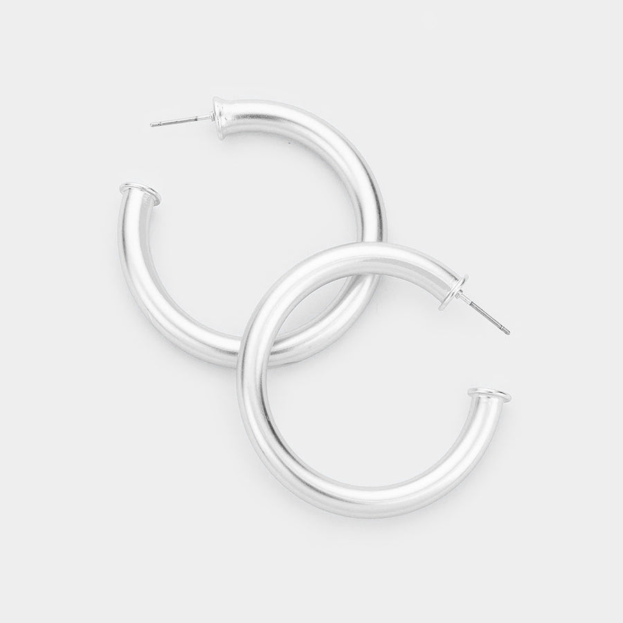 Show Stopper Hoop Earrings - Silver