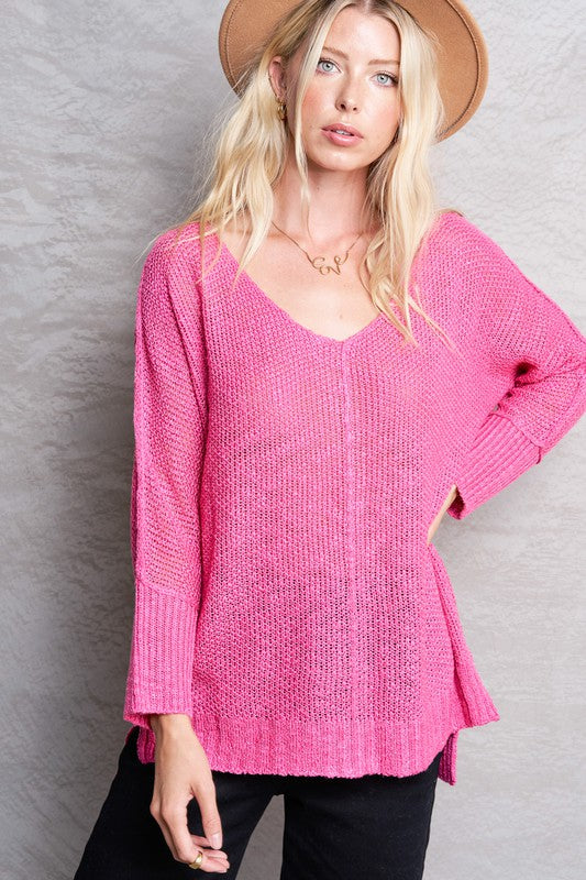 Day By Day Lightweight Sweater Top - Pink