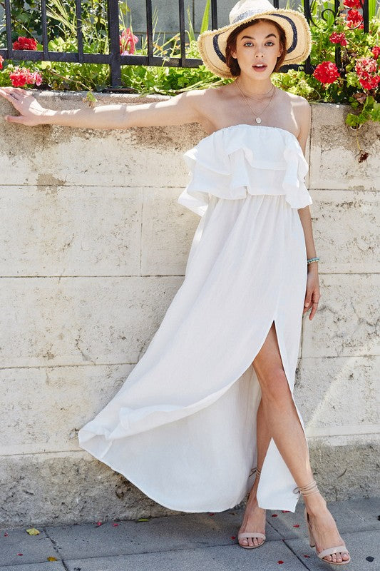 Ruffle Point Strapless Maxi Dress