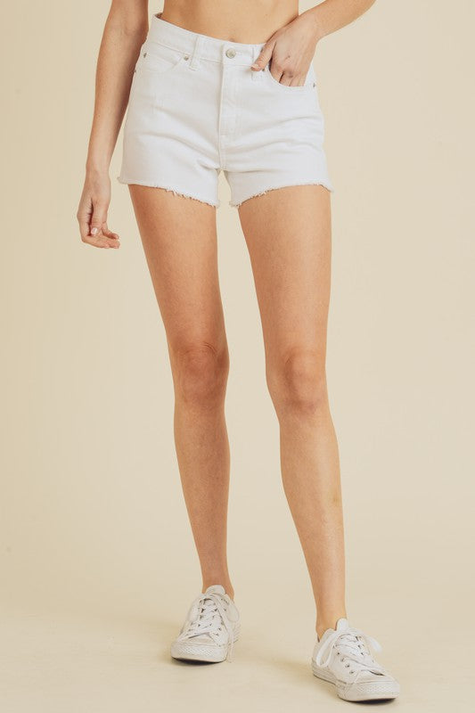 Just Right High Rise Denim Shorts - White