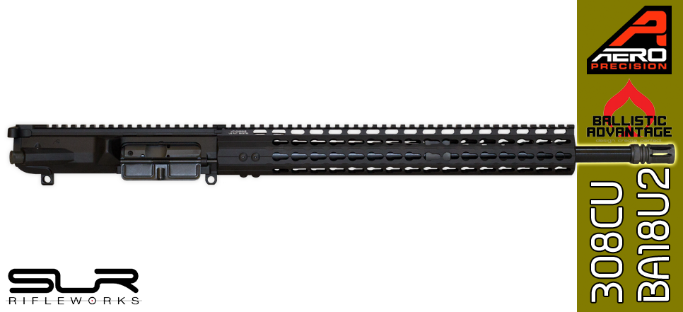 "18"" Custom Ballistic Advantage & Aero Precision AR .308 WIN Complete Upper Receiver with SLR Rifleworks Sentry 7 Adjustable Gas Block - FREE SHIPPING"