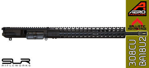 "18"" Custom Ballistic Advantage & Aero Precision AR .308 WIN Complete Upper Receiver with SLR Rifleworks Sentry 7 Adjustable Gas Block"