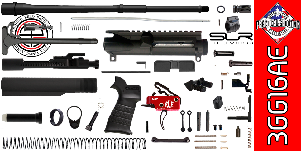 "DIY 16"" Multi-Gun Competition AR-15 Rifle Kit with Elftmann 3-Gun Trigger & SLR Adjustable Gas"