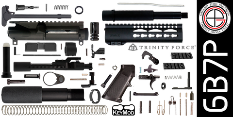 "DIY 7.5"" 300 Blackout AR-15 Pistol Project Kit with 7"" P1812 KEYMOD Free-Float Handguard (6B7P)"