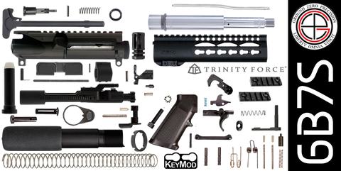 "DIY 7.5"" Stainless 300 Blackout AR-15 Pistol Project Kit with 7"" P1812 KEYMOD Free-Float Handguard (6B7S)"