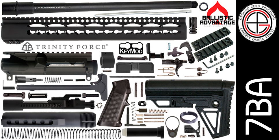 "DIY 16"" Ballistic Advantage 300 Blackout AR15 Project Kit With 15"" P1812 KEYMOD Free-Float Handguard"