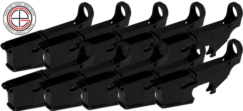 7075-T6 Hard Coat Anodized Mil-Spec 80% AR15 Lower Receiver - 10 PACK