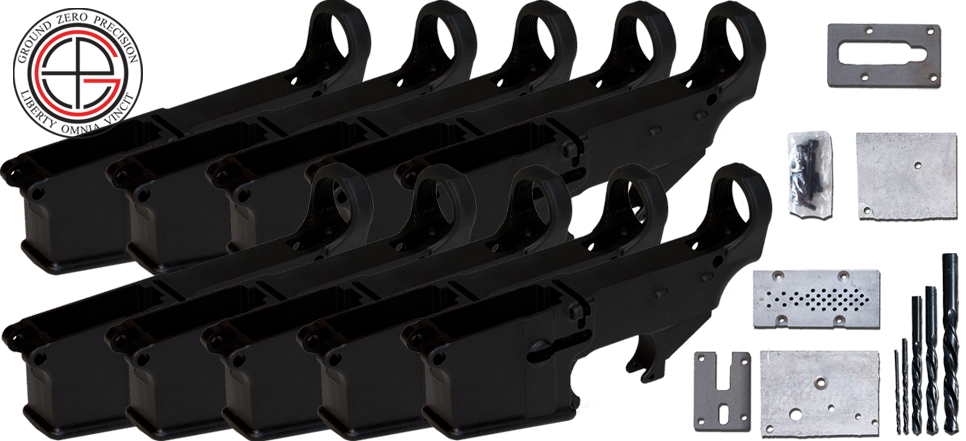 Mil-Spec 80% AR15 Lower Receiver 10 PACK with Milling Jig