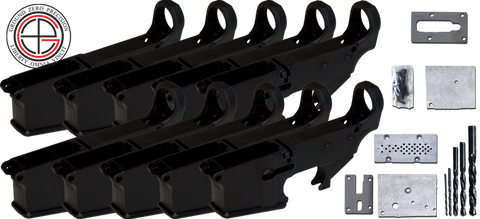7075-T6 Hard Coat Anodized Mil-Spec 80% AR15 Lower Receiver 10 PACK with Milling Jig