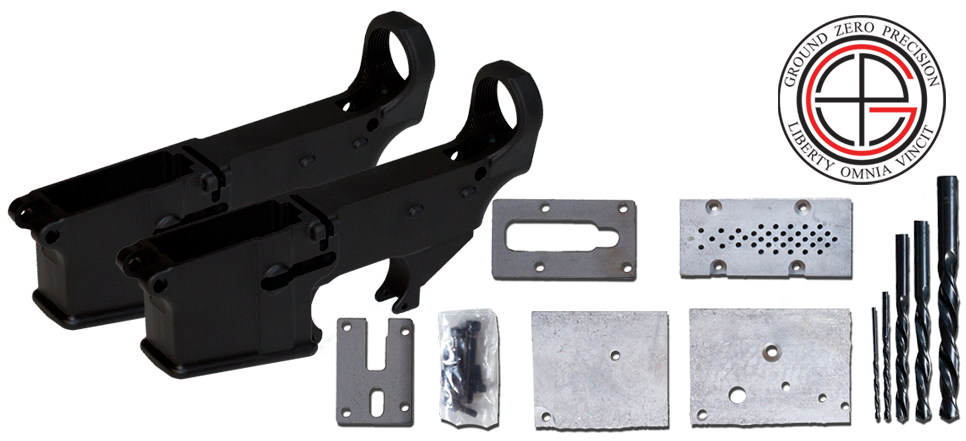 7075-T6 Hard Coat Anodized Mil-Spec 80% AR15 Lower Receiver 2 PACK with Milling Jig
