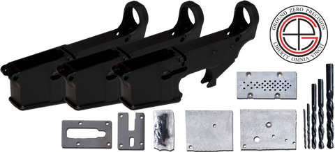 7075-T6 Hard Coat Anodized Mil-Spec 80% AR15 Lower Receiver 3 PACK with Milling Jig