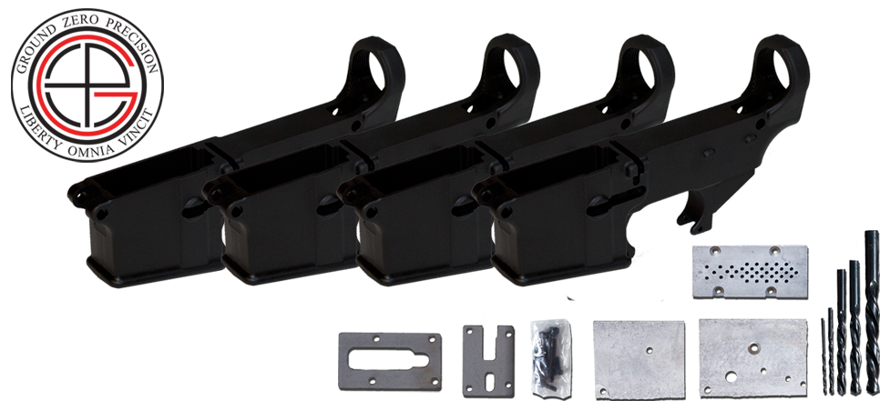 Mil-Spec 80% AR15 Lower Receiver 4 PACK with Milling Jig